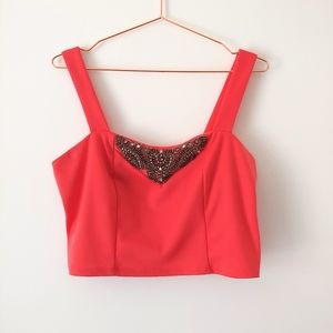 Charlotte Russe coral cropped tank